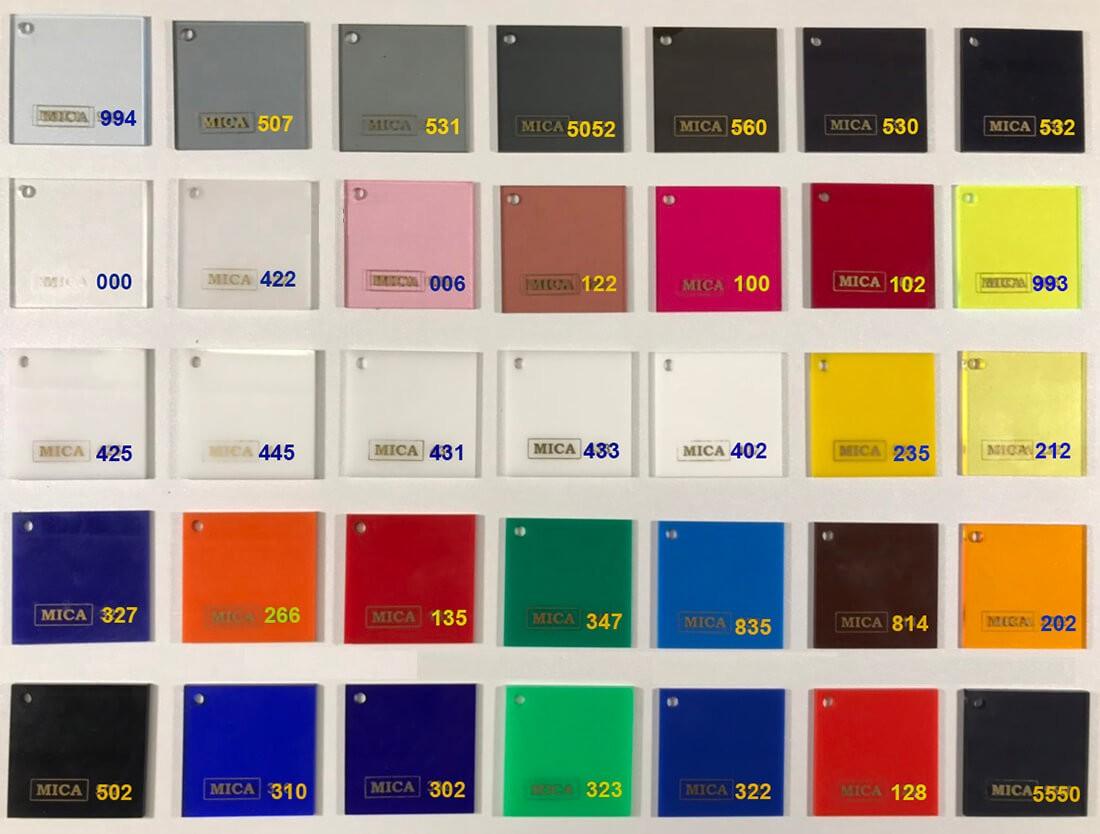 Bảng mã màu mica FS vô cùng đa dạng