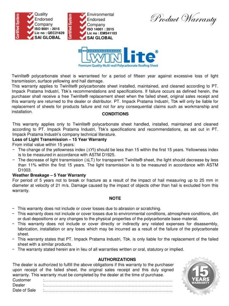 Chứng chỉ chất lượng của tấm twinlite