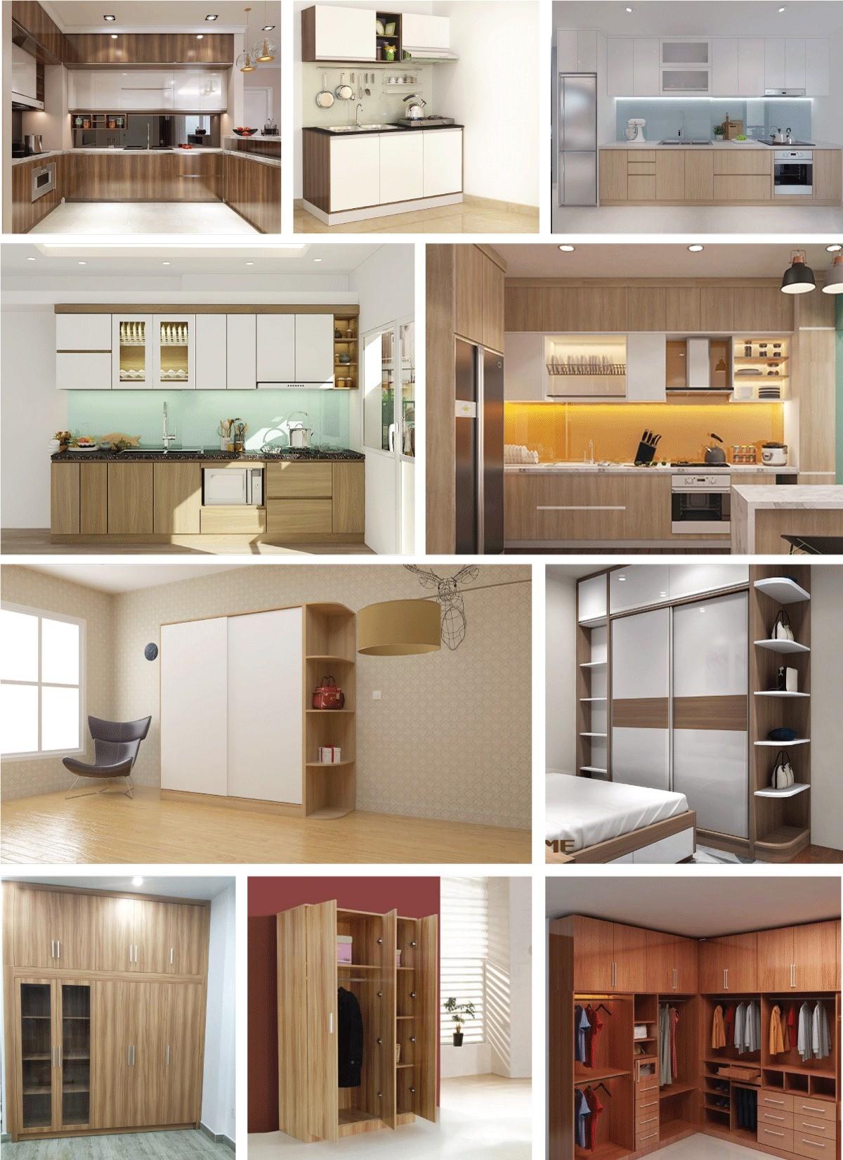 pvc vân gỗ làm tủ bếp