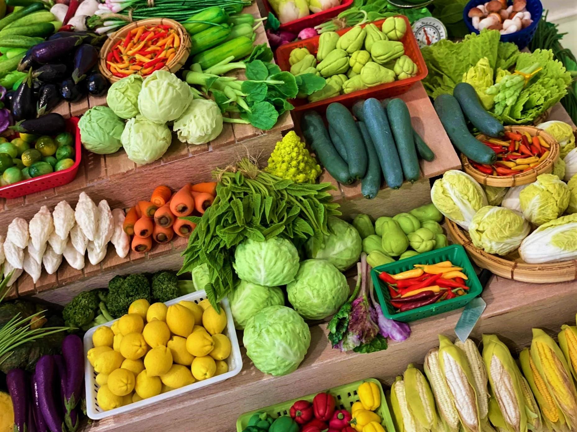 Các loại rau củ quả có màu sắc tươi, kích cỡ đồng đều