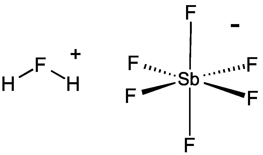 Công thức hóa học là H2FSbF6