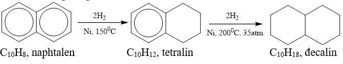 Khi có bột Niken nung nóng làm chất xúc tác, H2 cộng vào một nhân thơm của C10H8