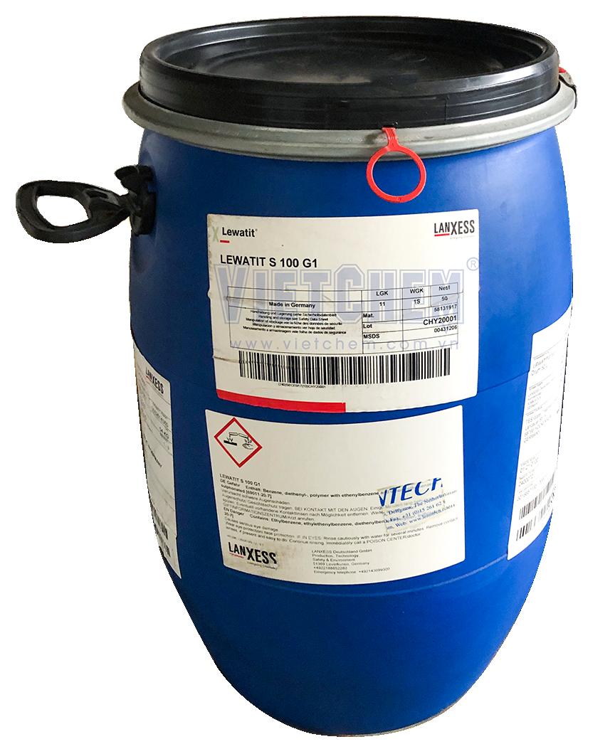 Hạt nhựa trao đổi ion Lewatit S 100 G1 Exchange Resin, Đức, 50lít/thùng