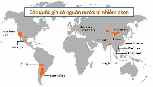 Asen nằm trong lớp trầm tích của vỏ trái đất tại nhiều quốc gia trên thế giới