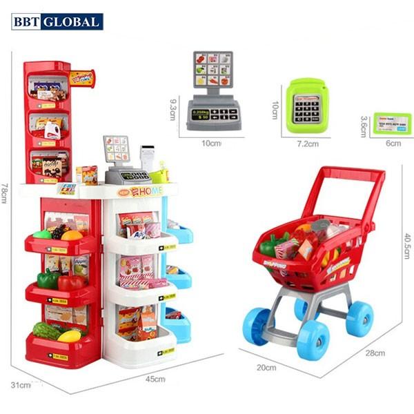 Bộ đồ chơi siêu thị có máy quẹt thẻ tính tiền cao cấp 668-20