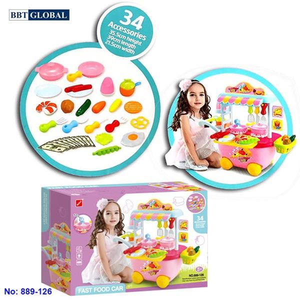 Bộ đồ chơi nấu đồ ăn nhanh xe đẩy 889-126