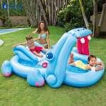 Bể bơi cầu trượt vòi phun mưa hà mã xanh Hippo intex 57150
