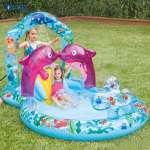 Bể bơi phao cầu trượt cá heo có vòi phun mưa INTEX 57146