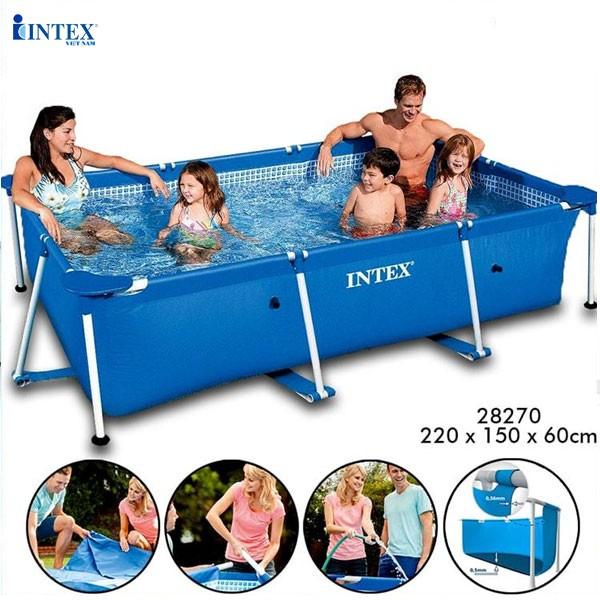 Bể bơi khung kim loại chữ nhật 2m2 cho bé INTEX 28270