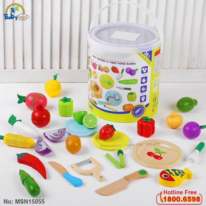 Bộ đồ chơi cắt ghép rau củ quả bằng gỗ MSN15055
