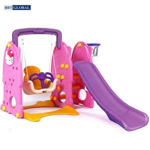 Cầu trượt cho bé có xích đu Hello Kitty ZK1009