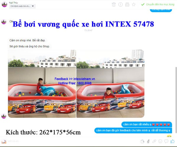 Bể bơi phao hình ô tô McQueen 2m62 INTEX 57478