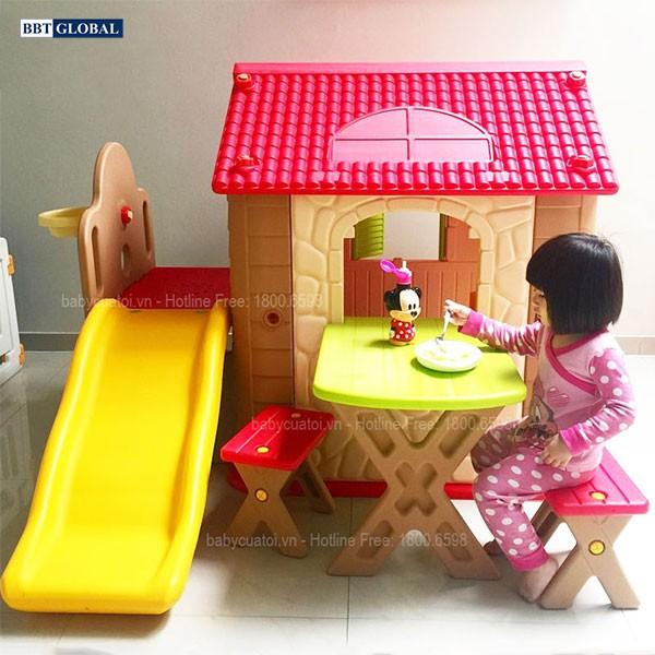 Nhà chơi cầu trượt Hàn Quốc cho bé kèm bàn ghế HN777