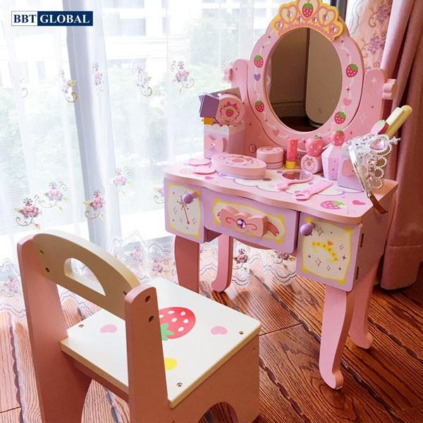 Ghế ngồi gỗ cao cấp kèm bàn chơi trang điểm gỗ cho bé JYNC017