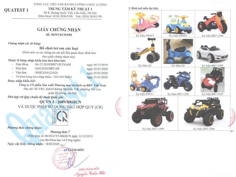 Chứng nhận chất lượng xe ô tô điện trẻ em