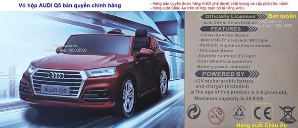 Trên hộp sản phẩm ghi rõ xe bảo quyền của Audi