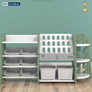 Giá kệ để đồ chơi và đồ dùng cho bé BBT Global xanh lá SH9604