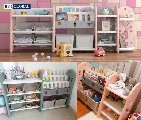Giá kệ để đồ chơi và đồ dùng cho bé BBT Global màu hồng SH9604