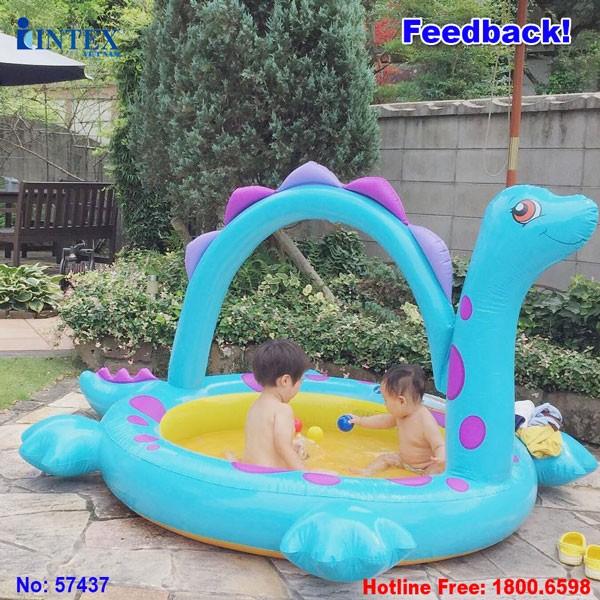Bể bơi phao khủng long bơm hơi có vòi phun nước INTEX 57437