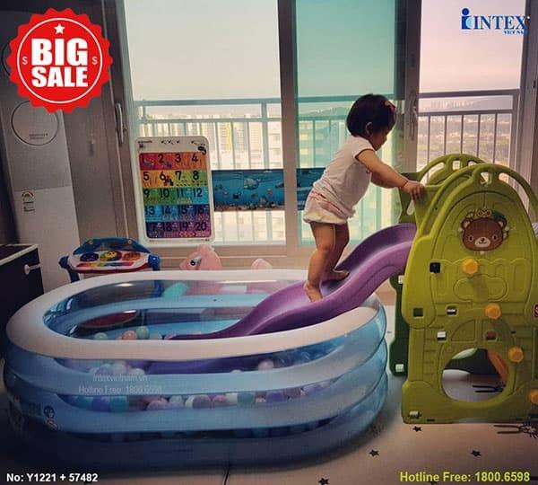 Bể bơi phao mini hình Oval INTEX 57482 | Kết hợp cầu trượt