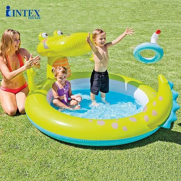 Bể bơi phao cá sấu chúa có vòi phun mưa INTEX 57431