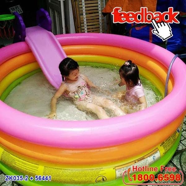 Bể bơi phao cầu vồng INTEX 56441 | Kết hợp cầu trượt