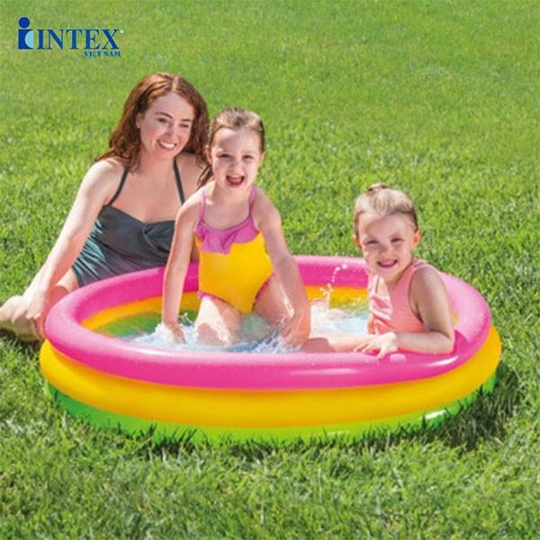 Bể bơi phao cho bé 3 tầng 1m14 đáy bơm hơi INTEX 57412