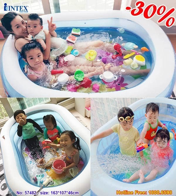 bể bơi phao oval 3 tầng cho bé