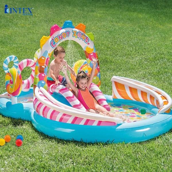 Bể bơi phao cầu trượt công viên Kẹo Ngọt intex 57149
