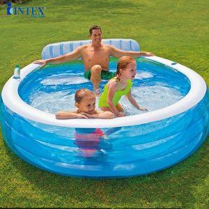Bể bơi phao gia đình có ghế ngồi tròn xanh intex 57190 (224*216cm)