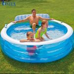 Bể bơi phao gia đình có ghế ngồi tròn xanh intex 57190