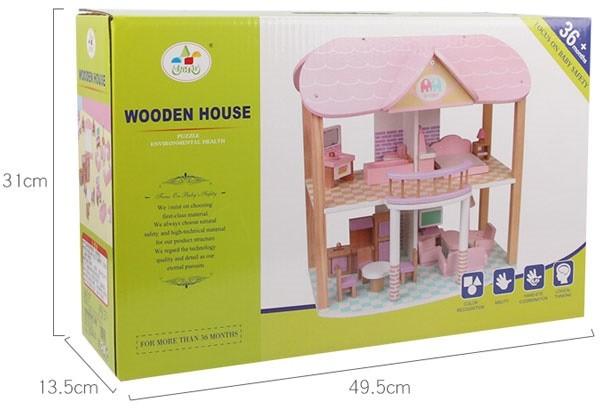 Ngôi nhà búp bê cho bé bằng gỗ MSN19029 | Vỏ hộp