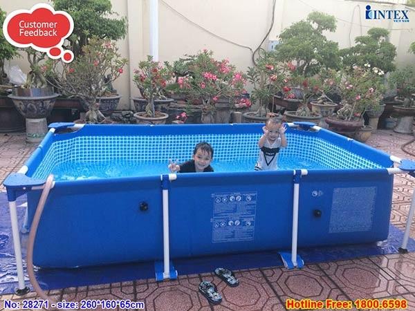 bể bơi khung kim loại cho bé