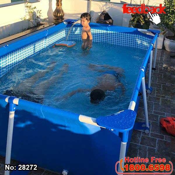 bể bơi khung kim loại tại nhà