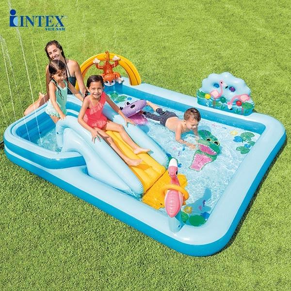 Bể bơi phao cầu trượt có vòi phun mưa INTEX 57161