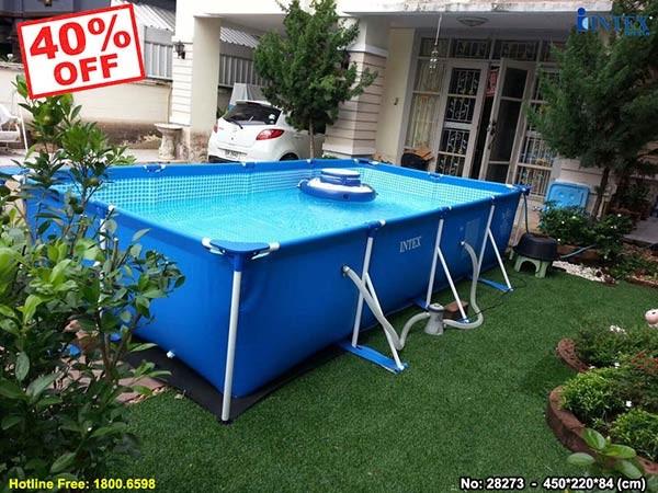hồ bơi khung kim loại chữ nhật