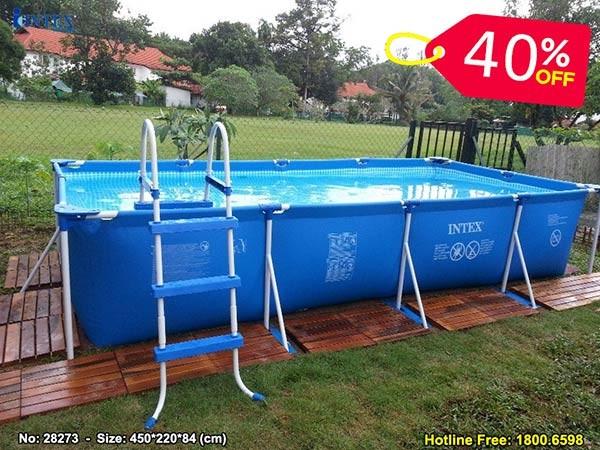 Hồ bơi di động khung kim loại 4.5m*2.2m INTEX 28273