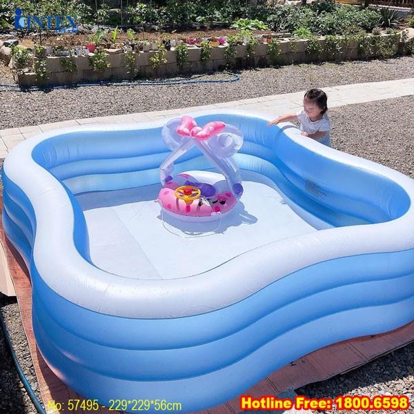 Bể bơi phao 3 tầng 2m29 hình vuông INTEX 57495