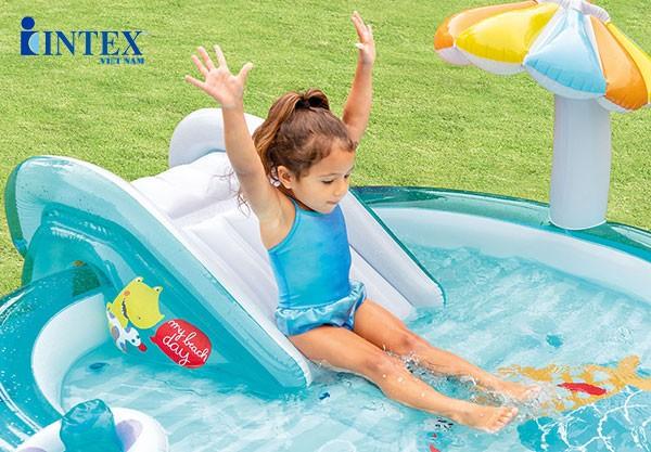Bể bơi phao cầu trượt cá sấu có vòi phun mưa Intex 57165