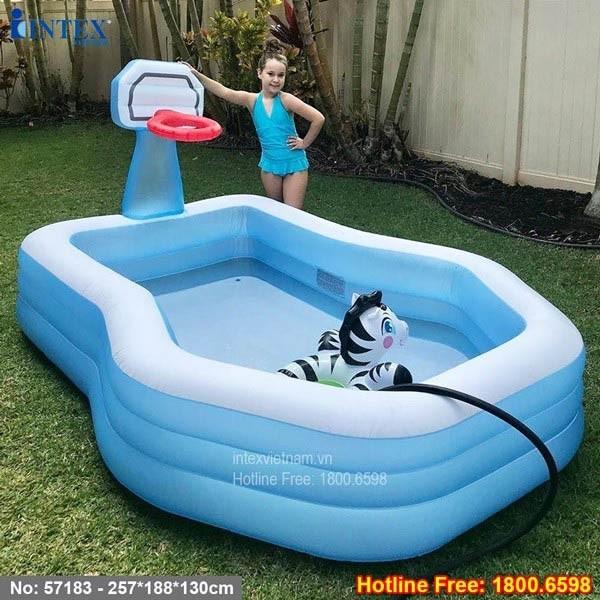 bể bơi phao có cột ném bóng rổ intex 57183