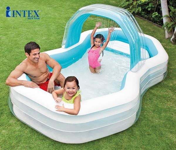 bể bơi phao có ghế ngồi và vòi phun mưa intex 57183