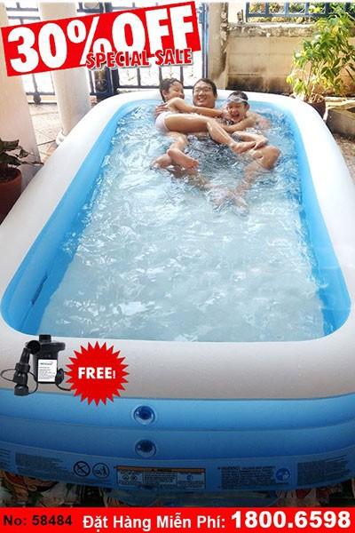 bể bơi phao hình chữ nhật intex 58484