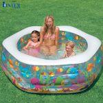 Bể bơi phao lục giác 1m91 đáy bơm hơi INTEX 56493