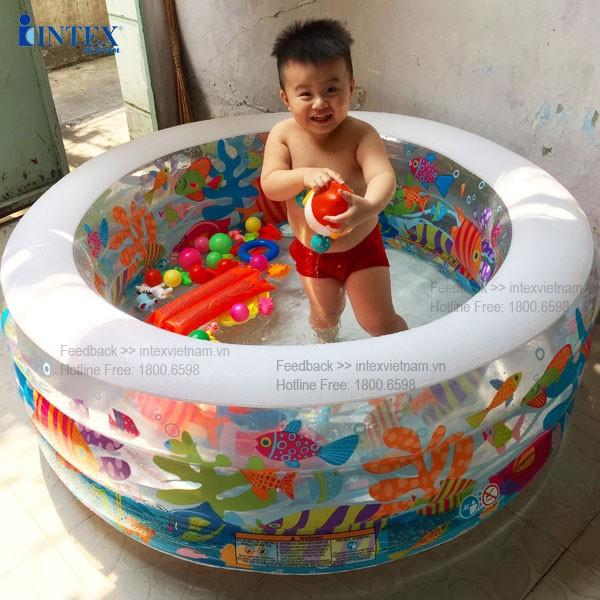 Bể bơi phao tròn cho bé 1m52 đáy bơm hơi INTEX 58480