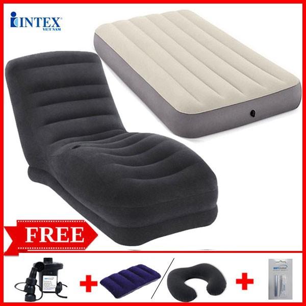 Combo ghế hơi INTEX 68595 và đệm đơn 99cm (đủ màu)
