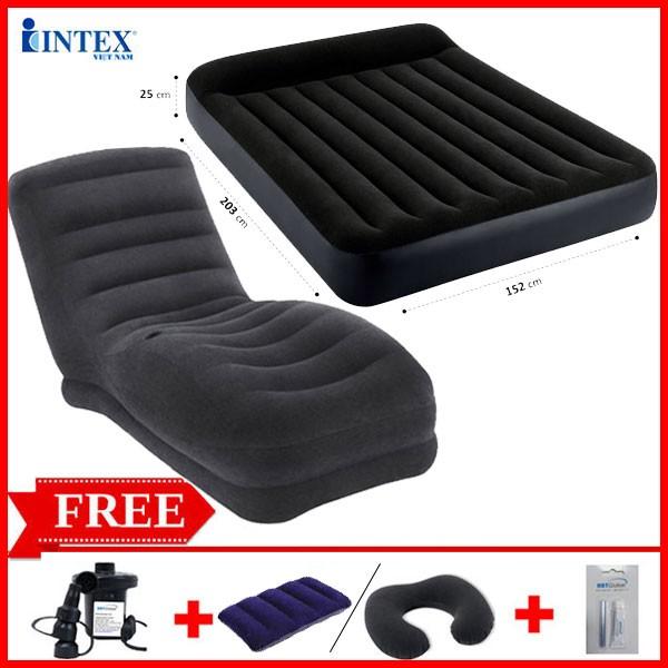 Combo ghế hơi INTEX 68595 và đệm đôi 1m52