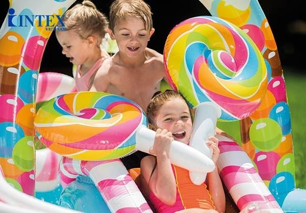 bể bơi phao cầu trượt kẹo ngọt INTEX 57149