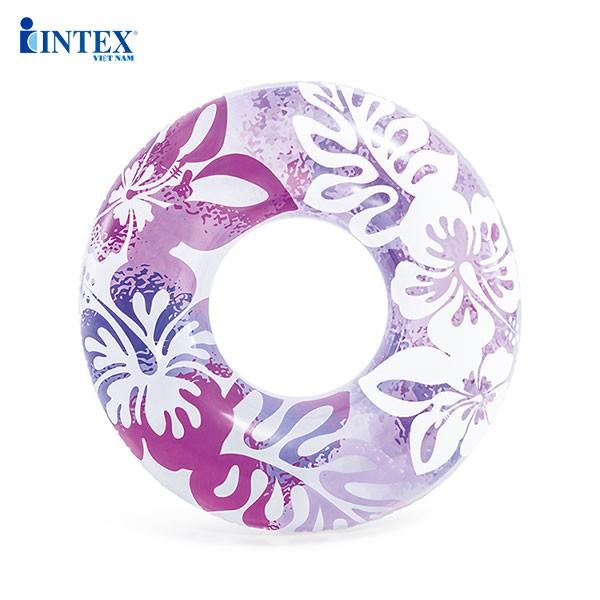 Phao bơi tròn hoa trong suốt 91cm INTEX 59251