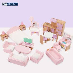 Bộ đồ chơi nội thất nhà búp bê bằng gỗ BBT Global MSN19034