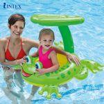 Phao bơi INTEX xỏ chân mái che hình ếch xanh 56584